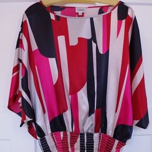 Cleo Shiny Dolman Sleeve Print Top- Sz. Sm.